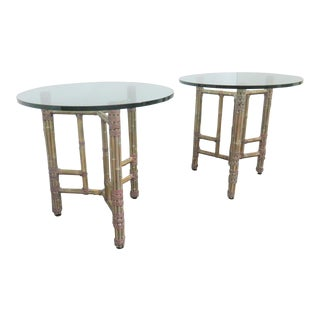 McGuire Bamboo Glass Top Tables - a Pair For Sale