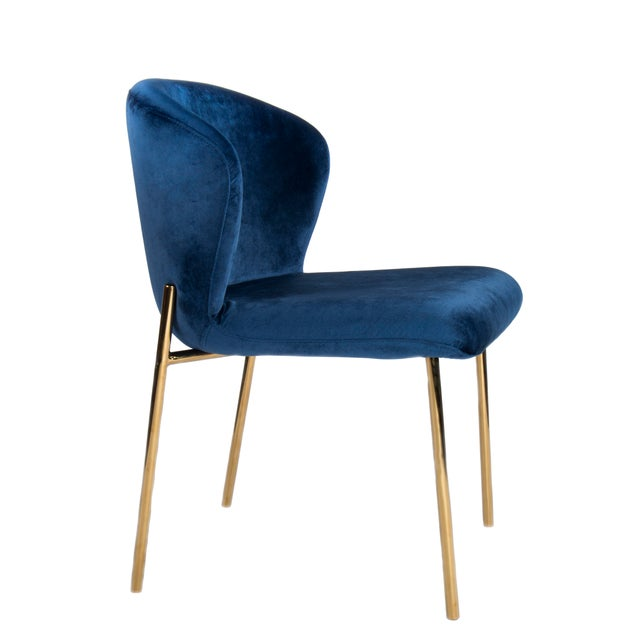 Contemporary Jamie Curved Dining Chair in Blue and Gold For Sale - Image 3 of 3