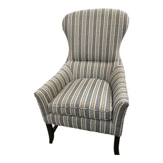 Contemporary Custom Wingback Chair in Blue Striped Fabric For Sale