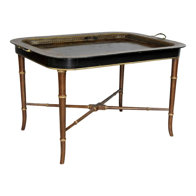 Regency Papier Mâché Tray Top Coffee Table For Sale