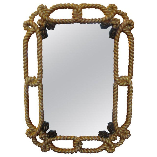 Italian Gilt Wood Mirror With Rope and Tassels For Sale - Image 9 of 9