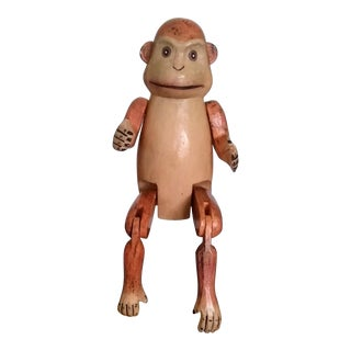 Mid-Century Wooden Articulated Monkey Shelf Sitter Figurine For Sale