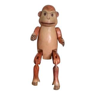 Mid-Century Wooden Articulated Monkey Shelf Sitter Figurine For Sale