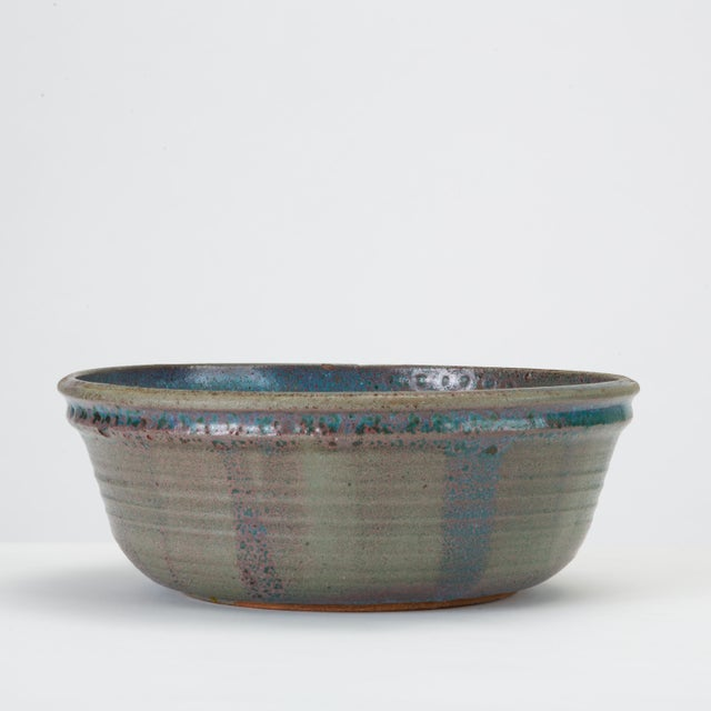 Blue Studio Pottery Serving Bowl For Sale In Los Angeles - Image 6 of 12