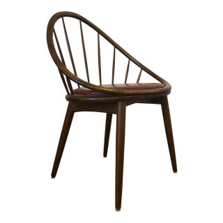 Vintage Danish Hoop Style Chair With Spindle Back For Sale
