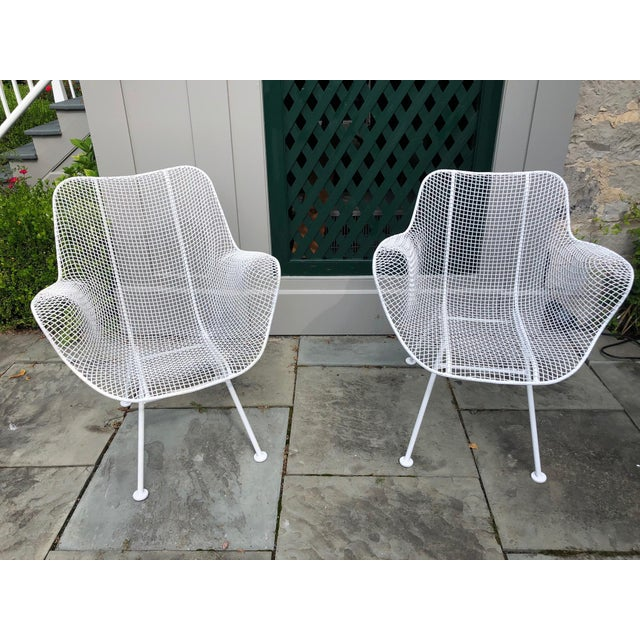 """1950s Woodard """"Sculptura"""" White Patio Chairs - a Pair For Sale - Image 13 of 14"""