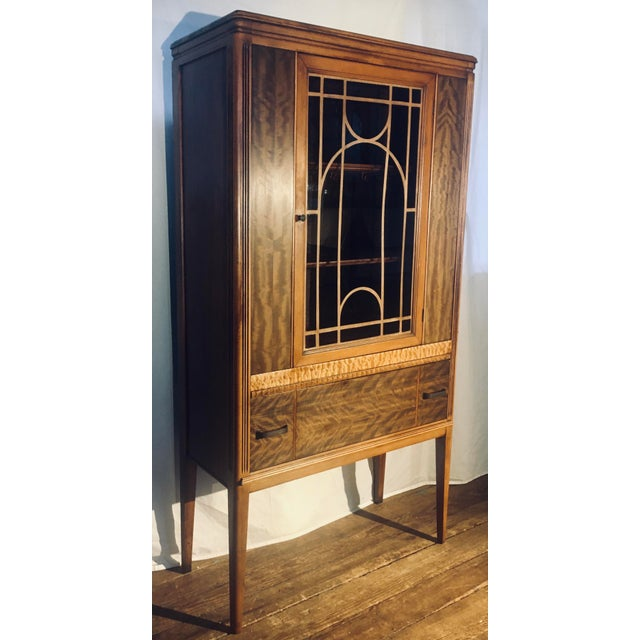 """Art Deco Exotic Woods 35"""" China Cabinet/Bookcase For Sale - Image 13 of 13"""
