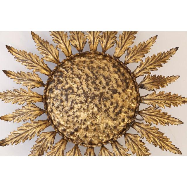 Gold Gilt Tole Flush Mount Light For Sale - Image 8 of 11