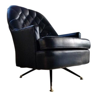 Montclair Collection Black Vinyl Mid-Century Modern Swivel/Lounge Chair