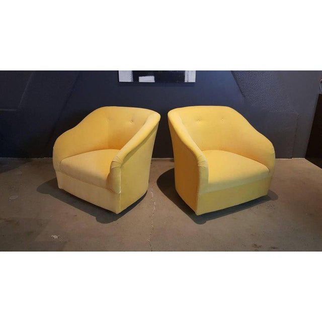 Fully Restored 1960s Vintage Ward Bennett Canary Yellow Velvet Swivel Chairs - a Pair - Image 11 of 11