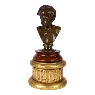 Antique French Barbedienne Bronze Sculpture Bust of a Boy on a Giltwood Plinth For Sale