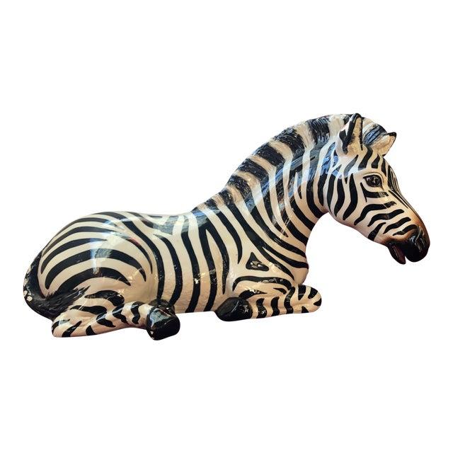 1980s Figurative Ceramic Zebra For Sale