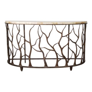 Tommy Bahamas Style Faux Branch Demilune Console Table For Sale