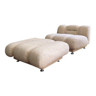 Mid Century Modern Space Age Italian Lounge Chair & Ottoman For Sale