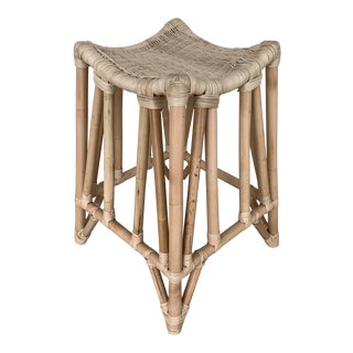 Boho Chic Natural Finish Rattan Bar Stool For Sale