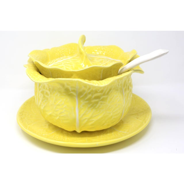 Cottage Vintage Secla Yellow Cabbage Soup Tureen With Lid, Ladle and Underplate - Set of 4 For Sale - Image 3 of 13