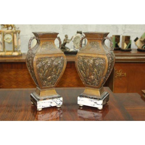 Big Pair of French Art Deco Vase With Marble Base Circa 1935s beautiful pair of vase nice decor and top furniture size 14...