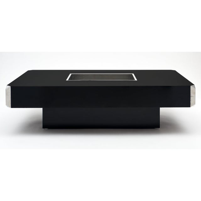 Willy Rizzo Coffee Table.Italian Vintage Ebonized Coffee Table With Chrome By Willy Rizzo
