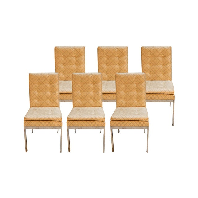 White Mid Century D I a Design Institute America Chrome High Back Dining Chairs - Set of 6 For Sale - Image 8 of 8