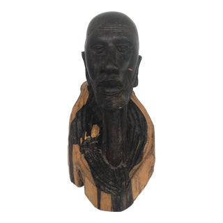 African Carved Wood Male Head For Sale