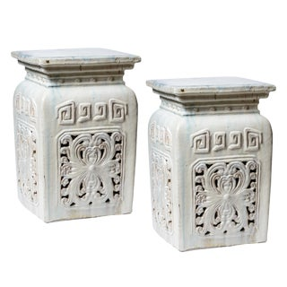Chinese White Glazed Terra Cotta Large Garden Seats - a Pair For Sale