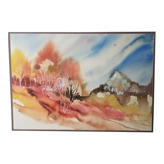 Southwest Virginia Appalachian Fall Forest Watercolor Painting For Sale