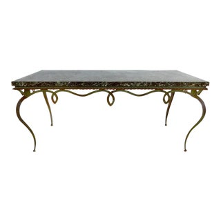 Sinuous Mid-Century Forged Iron Coffee Table Topped in Marble in Style of Gilbert Poillerat
