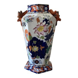 Large Antique Imari Porcelain Floor Vase with Orange Dragons For Sale