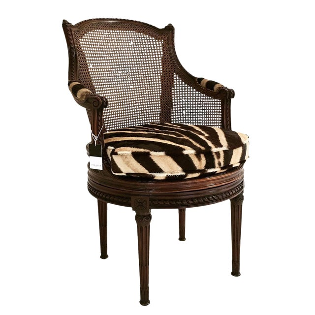 18th Century George Jacob Mahogany & Cane Swivel Bergere with Custom Zebra Cushion For Sale