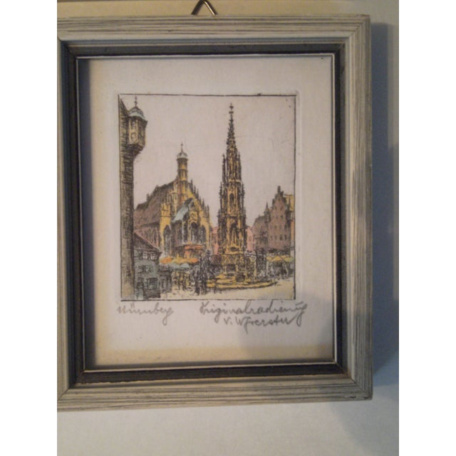 Vintage Small German Colored Etchings - Set of 4 - Image 4 of 10