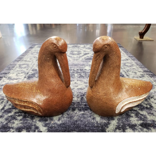 Brown Mid 20th Century Japanese Bizen Ware Bird Sculptures - a Pair For Sale - Image 8 of 8