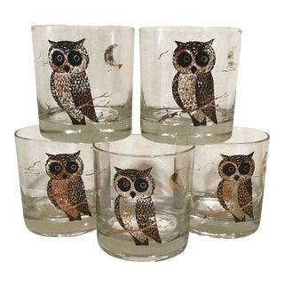 Mid-Century Modern Rocks Glasses With Owl Motif - Set of 5
