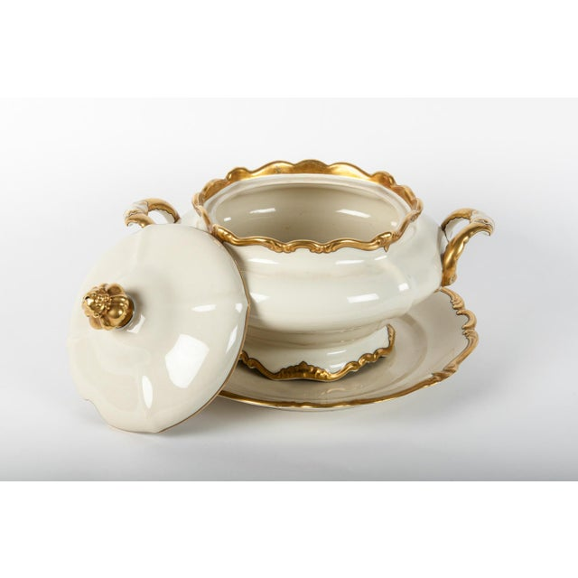 Antique European porcelain three pieces covered tureen. Excellent condition. Beautiful piece. The covered tureen measure...