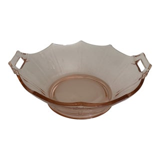 Pink Scalloped Depression Glass Bowl With Handles For Sale