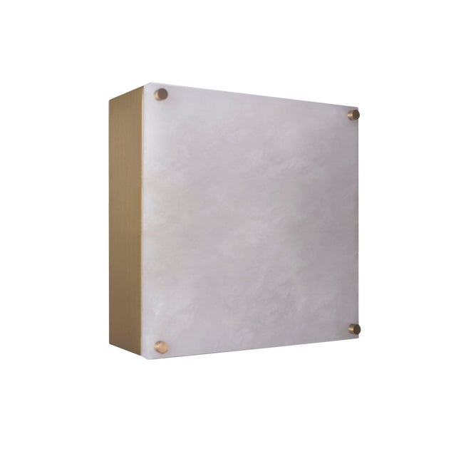 Modern Contemporary 000a Sconce in Alabaster and Brushed Brass by Orphan Work For Sale