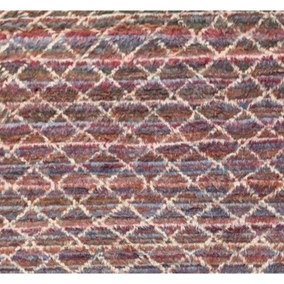 7'9 X 11'8 Multicolor And White Diamond Striped Moroccan Style Contemporary Shag Rug.