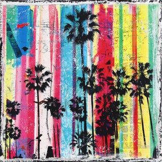 """Rainbow Palms 3"" Original Artwork by Marion Duschletta For Sale"