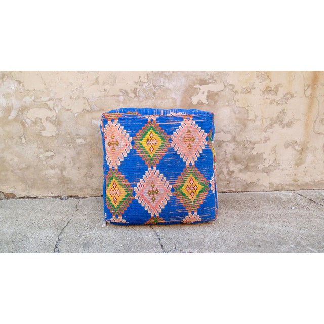 Moroccan Royal Blue & Light Pink Floor Pillow - Image 2 of 5