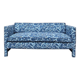 1950s Retro Modern Loveseat Covered in Kendall Wilkinson Fabric For Sale