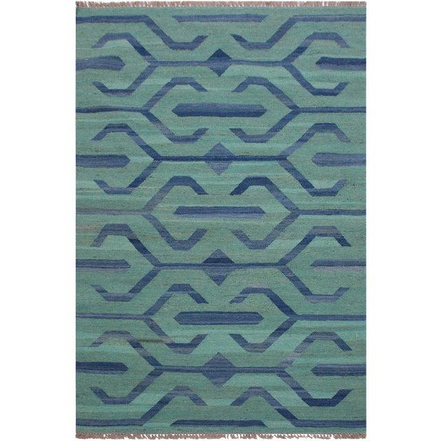 Tribal Kilim Angeliqu Green/Blue Hand-Woven Wool Rug - 3'2 X 4'11 For Sale