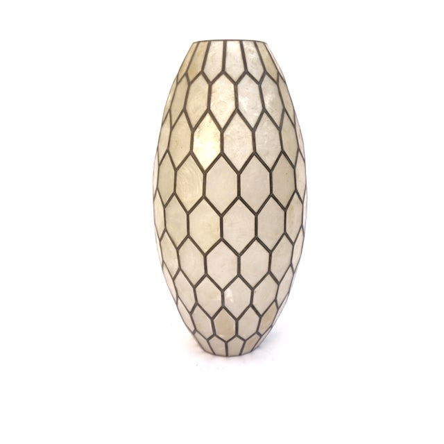 Large Vintage Bohemian Glam Capiz Shell Lampshade   Mid-Century Bullet Shape Lamp Shade   Chic Statement Lighting For Sale - Image 10 of 13