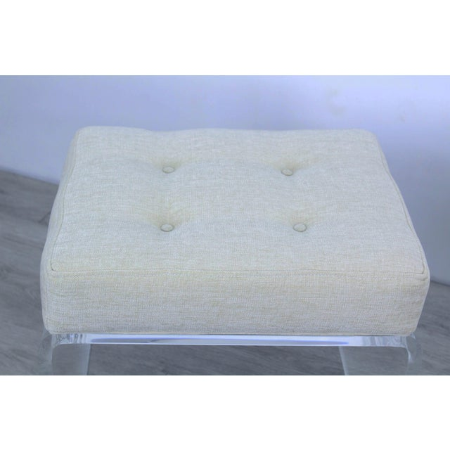 Pair of Cream Waterfall Lucite & Chenille Benches For Sale In Miami - Image 6 of 8
