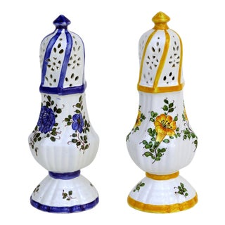 20th Century Italian Meiselman Ceramic Salt and Pepper Shakers - a Pair For Sale