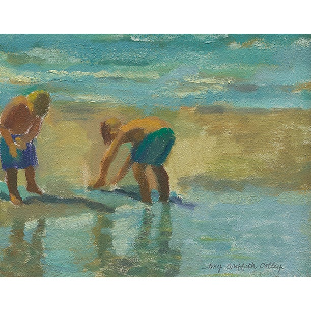 This contemporary print depicts boys playing in the sand by the shore. The piece was created by artist Amy Griffith Colley.