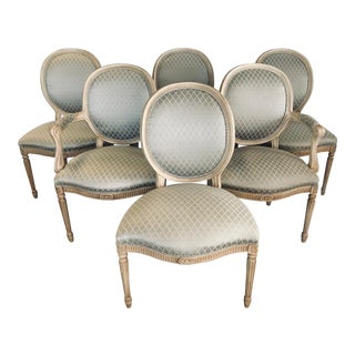 Set of Six French Louis XVI Oval Back Dining Chairs For Sale