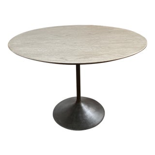 Restoration Hardware Aero Wood Round Dining Table For Sale
