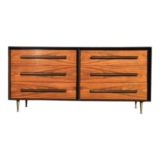 1960s Mid Century Modern Widdicomb Ebonized and Teak 6-Drawer Credenza For Sale