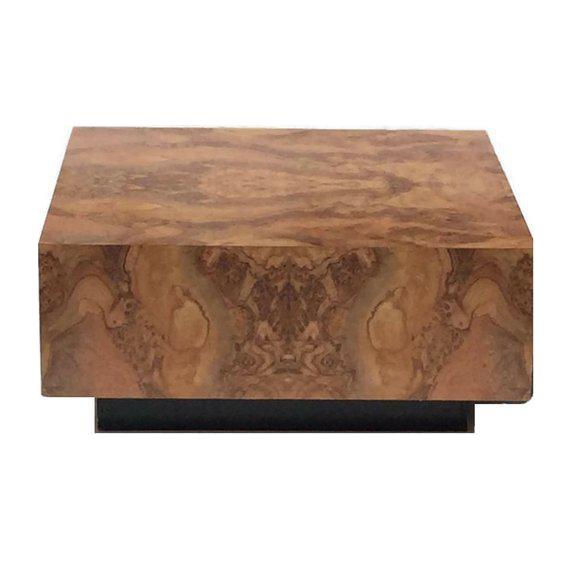 vintage burl wood coffee table floating cube pedestal cocktail table rh chairish com burl wood coffee table for sale burl wood waterfall coffee table