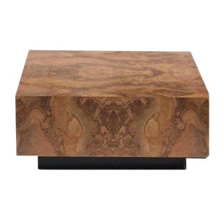 "Vintage Burl Wood Coffee Table Floating Cube Pedestal Cocktail Table - 36"" For Sale"