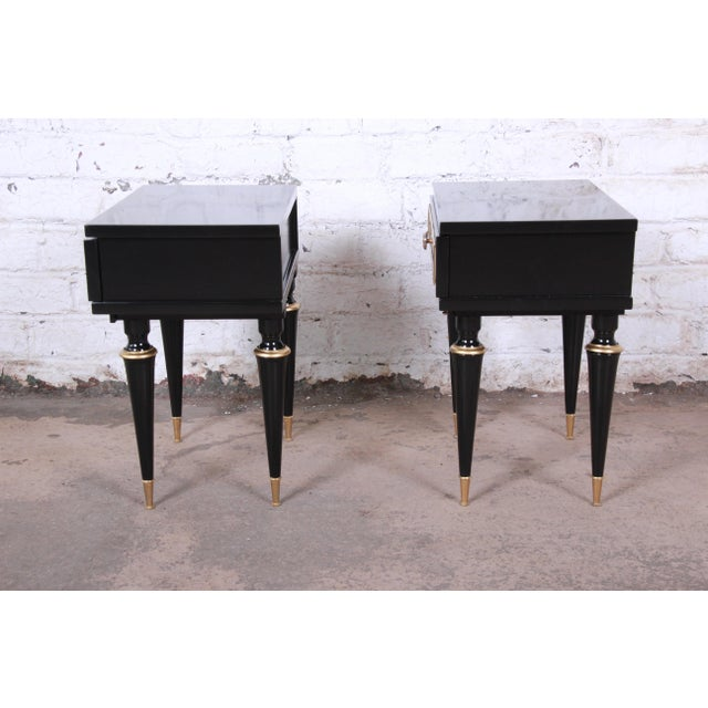 French Mid-Century Modern Ebonized Wood and Brass Nightstands / End Tables - a Pair For Sale In South Bend - Image 6 of 13